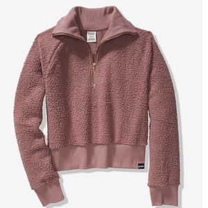 VS PINK SHERPA HALF-ZIP Cocoa Powder. Medium
